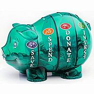 $$ SAVVY PIGGY BANK GREEN